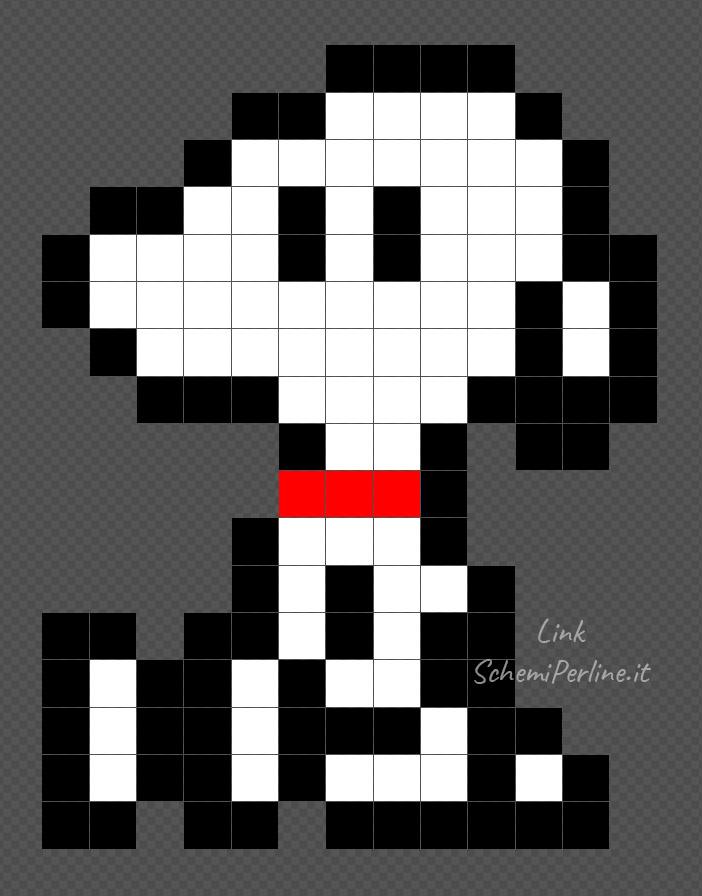 Mini Snoopy schema facile con le Pyssla 13x17