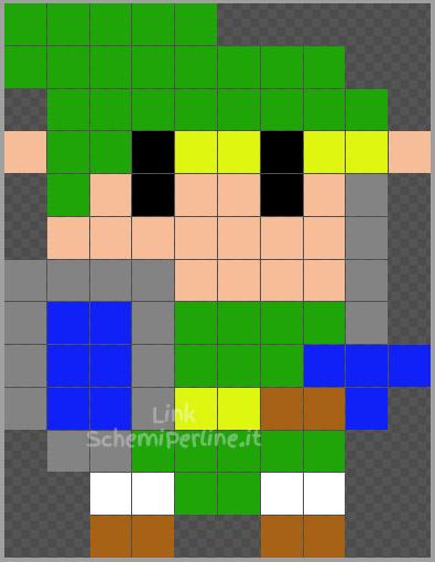 Piccolo Link di Zelda schema Pyssla Hama beads 10x13