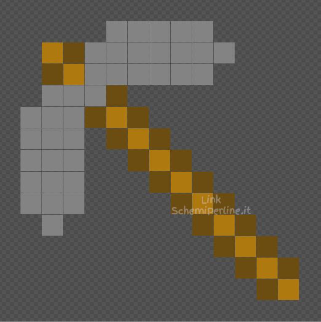 Piccone di pietra di Minecraft foto Pyssla gratis 13x13