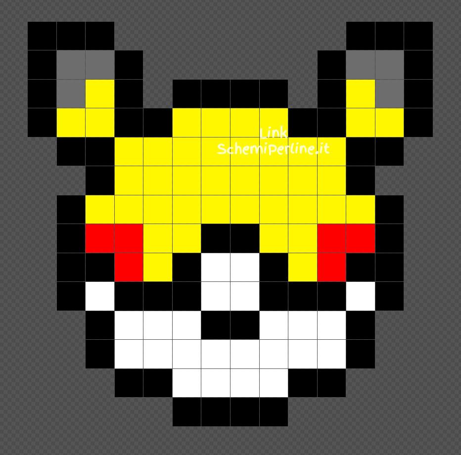 Pokeball edizione Pikachu disegno perline da stirare Pyssla 14x14