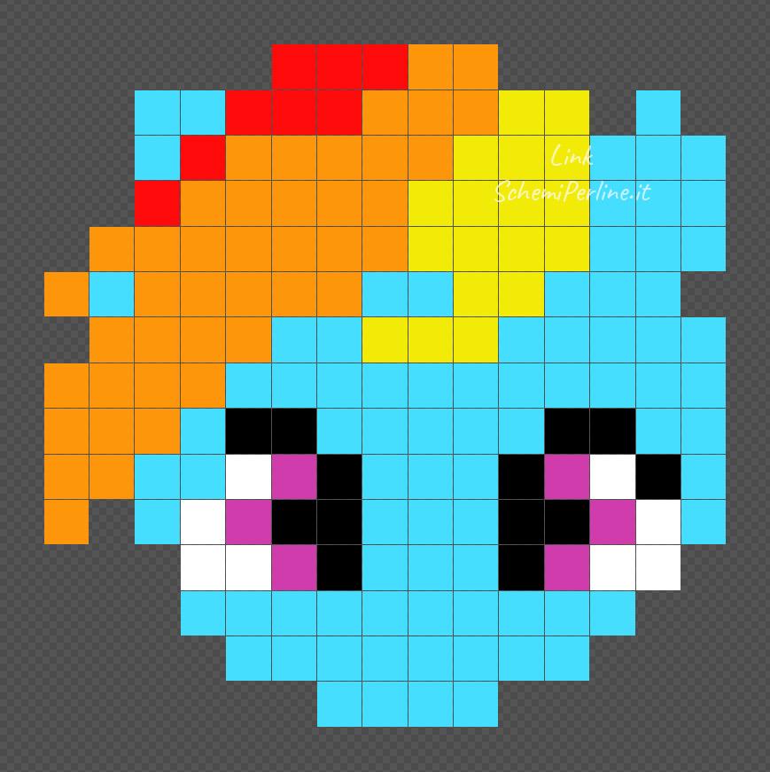 Rainbow Dash delle My Little Pony schema con le perline da stirare 15x15