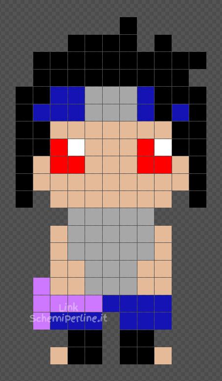 Sasuke schema Naruto Shippuden Hama Beads grauito 11x20