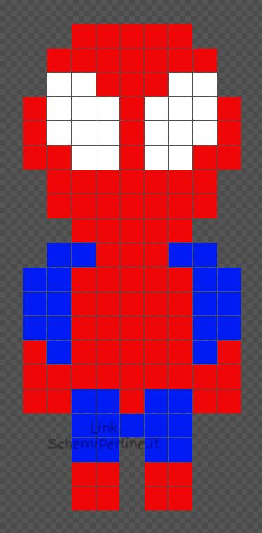 Spiderman Uomo Ragno schema da fare con le Hama Beads e Pyssla 9x20