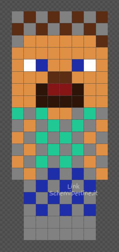 Steve di Minecraft con armatura di cottamaglia schema Hama Beads 8x19