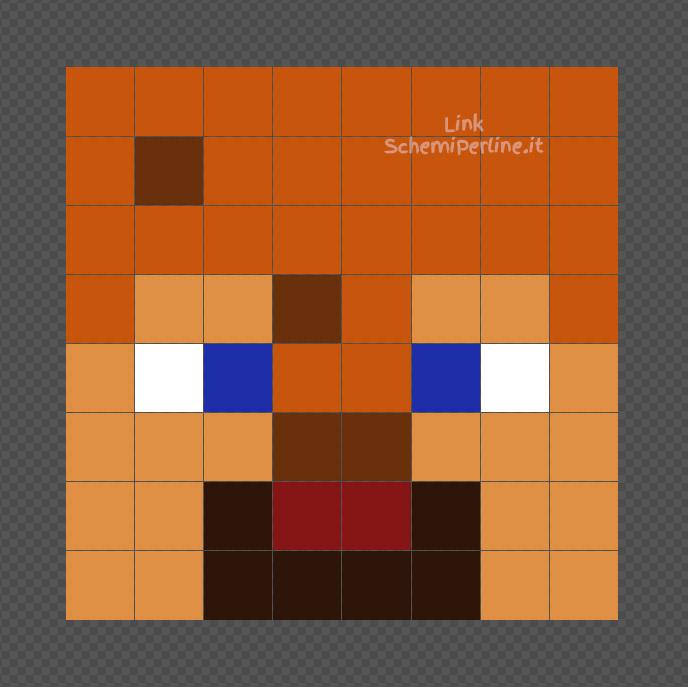 Steve di Minecraft con elmetto di pelle disegno Pyssla 8x8