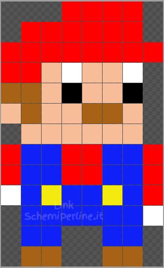 Super Mario piccolo schema Pyssla Hama Beads 8x13