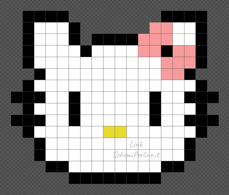 Tutorial Pyssla facile di Hello Kitty18x15