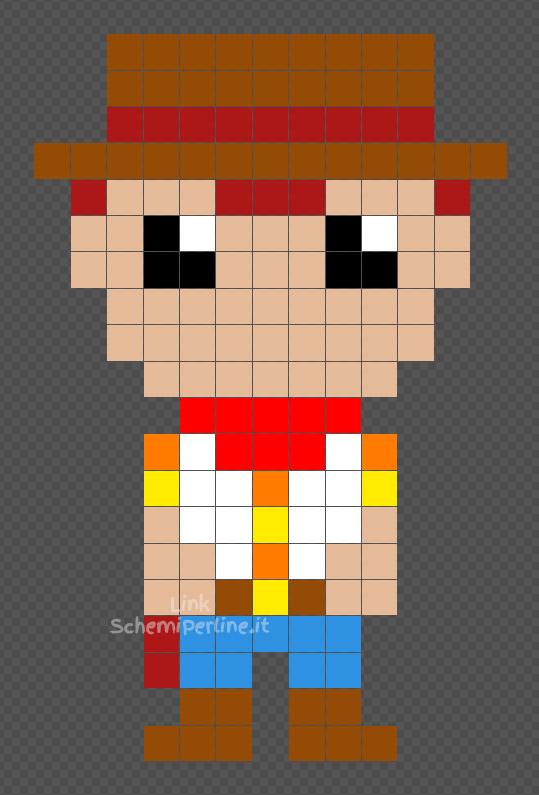 Woody schema gratis Toy Story Hama Beads Pyssla 13x20